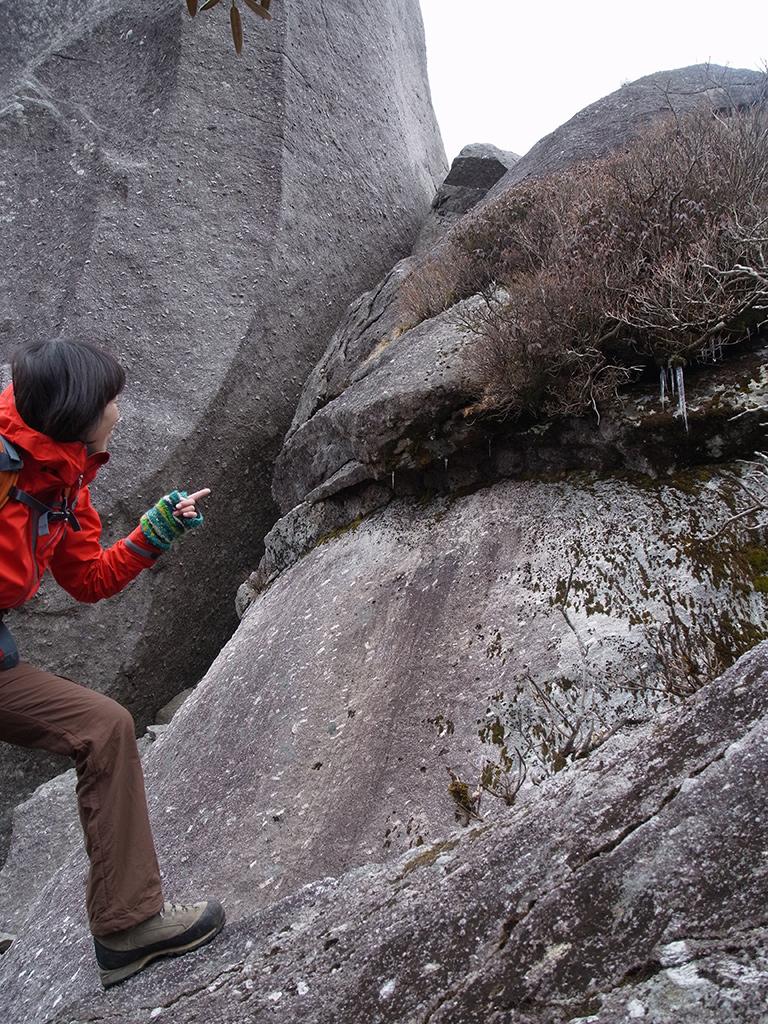 山頂直下の巨石に大きなつららを見つけ、指さして喜ぶ参加者Tさんの写真