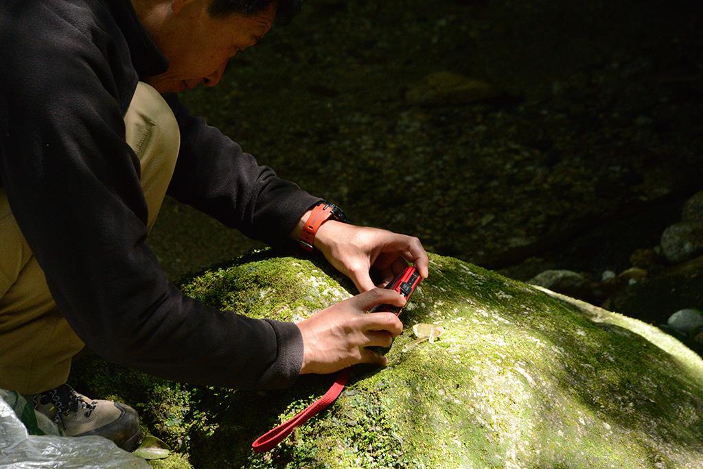 拾った水晶の写真を撮る男性参加者Kさんの写真