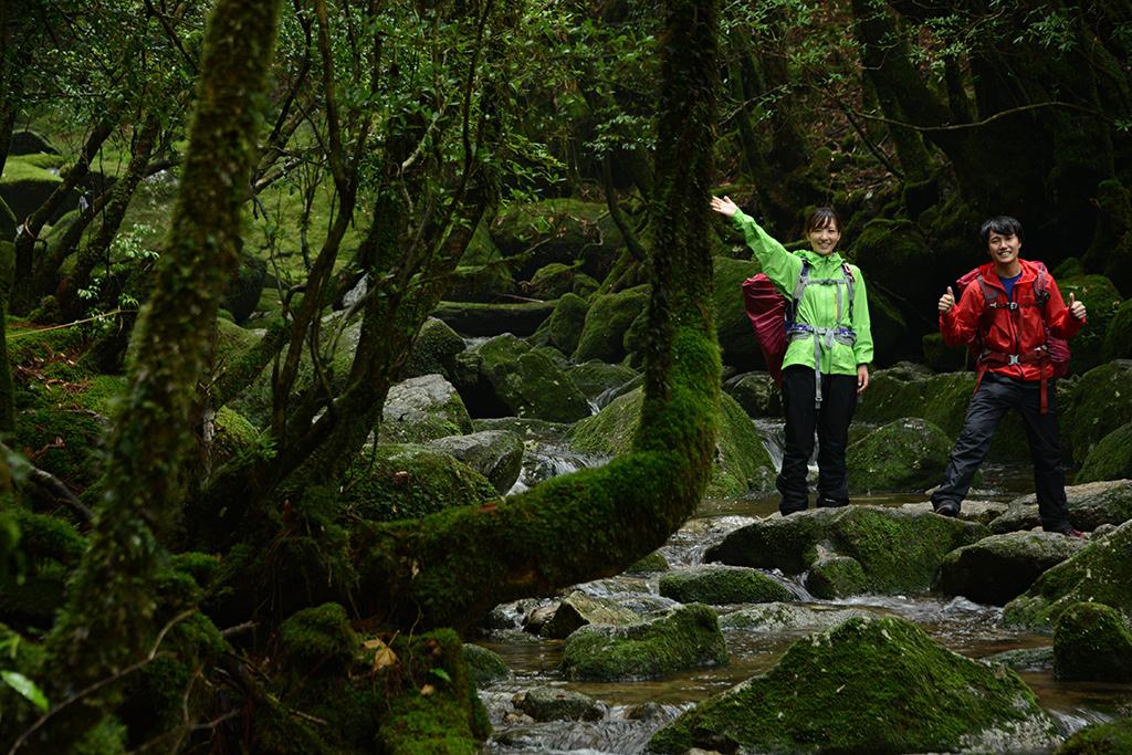 苔に覆われた沢を渡る二人を先回りして遠くから撮った一枚