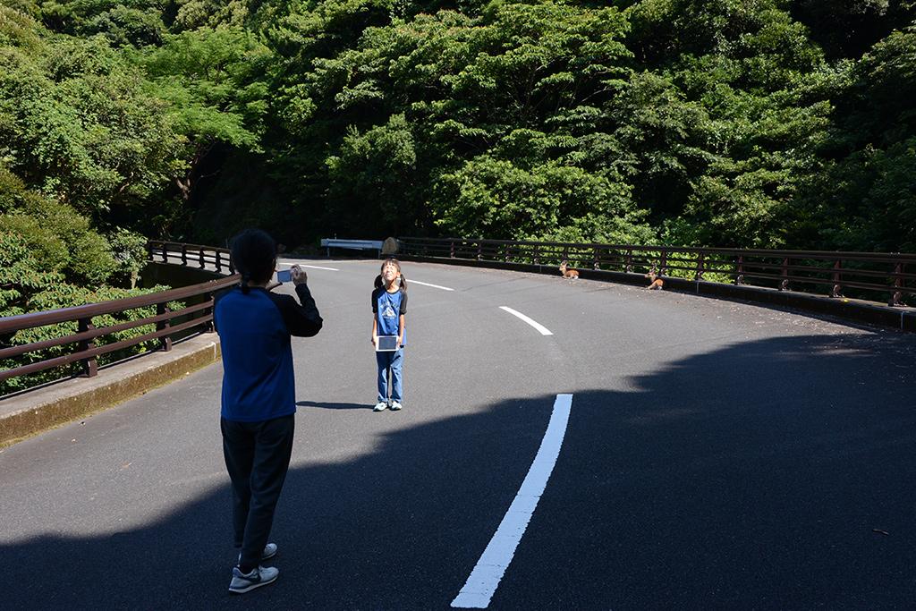 鹿が横たわる「鹿見橋」にて一緒に鹿と写真を撮る親子のツーショット写真