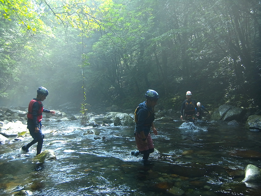 どこまでも透き通る沢の水に感心しながら、各々でその感性に響くポイントを探して歩く4人の写真