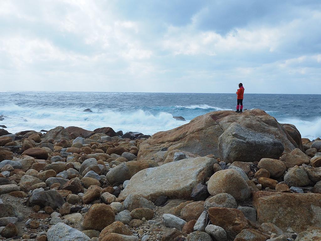 お昼ご飯を食べた後、巨石に登って海を眺める参加者の姿