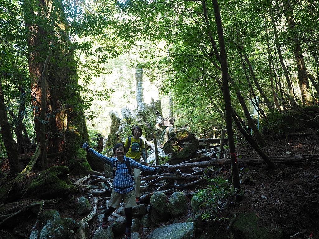 長〜いトロッコを歩き終えて、いざ森の中へ〜という意気込みを見せる二人の写真