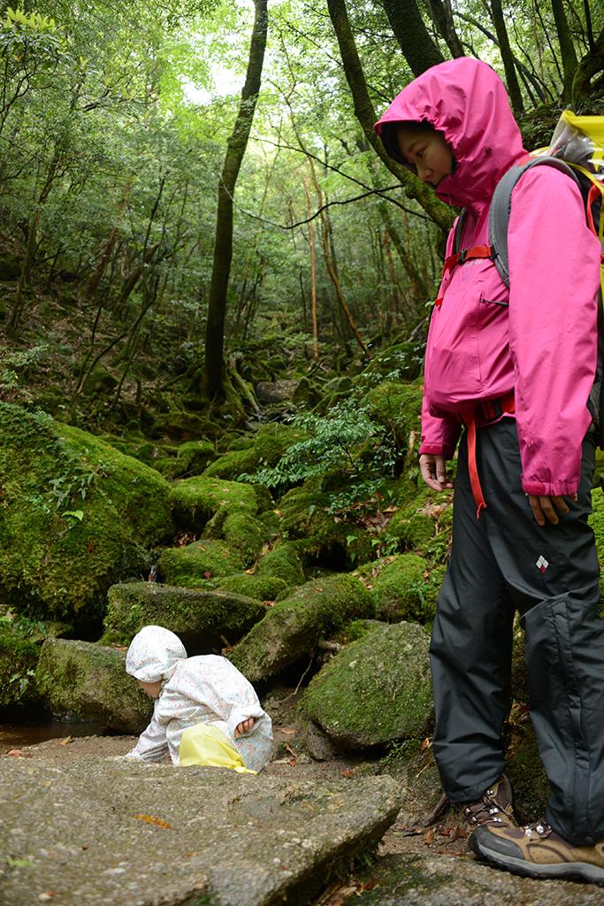 苔に覆われた景色が広がる前で座り込み、葉を小川に投げ込むMちゃんとそれを黙って見守るお母さんの写真