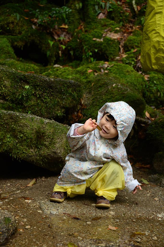 1枚の葉を拾い上げてマジマジと眺めてご満悦名表情のMちゃんの写真