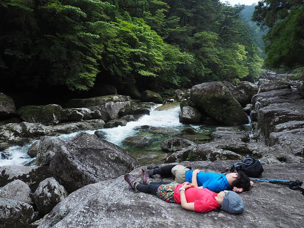 河原で完全に寝入る二人の写真