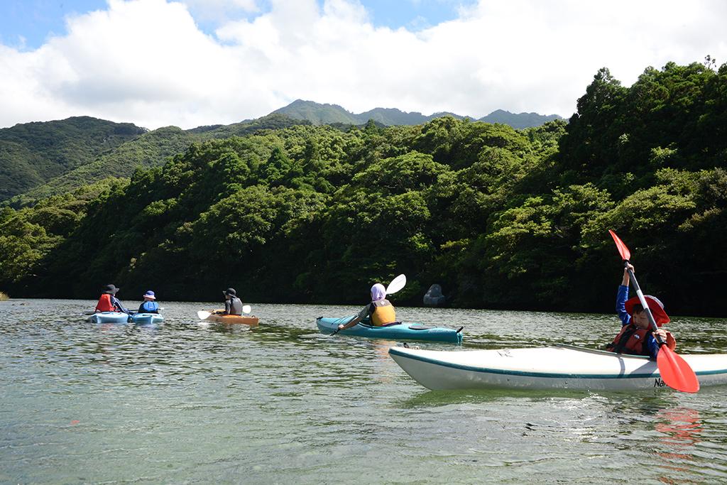 家族5人揃って上流目指して漕ぎ進んでいる写真