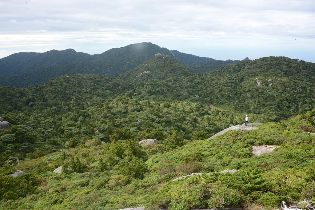 巨岩に自分が登って、眼下にMさんを望んだ広い風景写真
