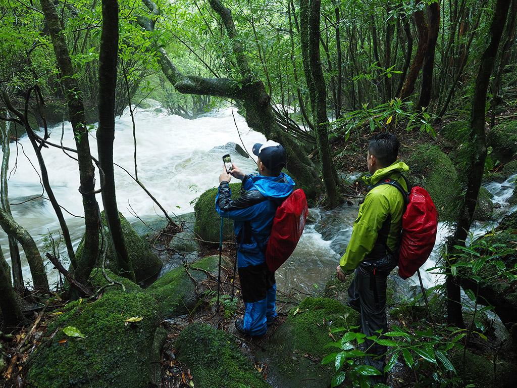 お昼を食べた所の近くで、川がもの凄い勢いで流れ落ちている写真