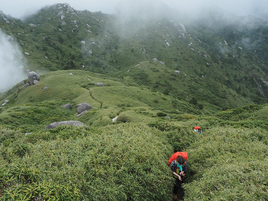 宮之浦岳山頂につづく直登を必死に登る二人を上の方から見下ろしながら撮った写真