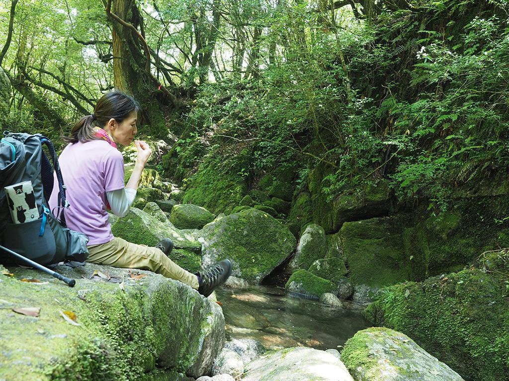 苔むした小さな川でぼ〜っとするKさんの写真
