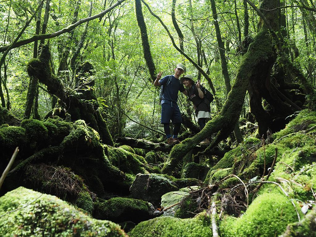 あたり一面、苔で覆い尽くされた場所に小さく古い木製の橋が架かっていて、その上で二人揃ってポーズをとる写真