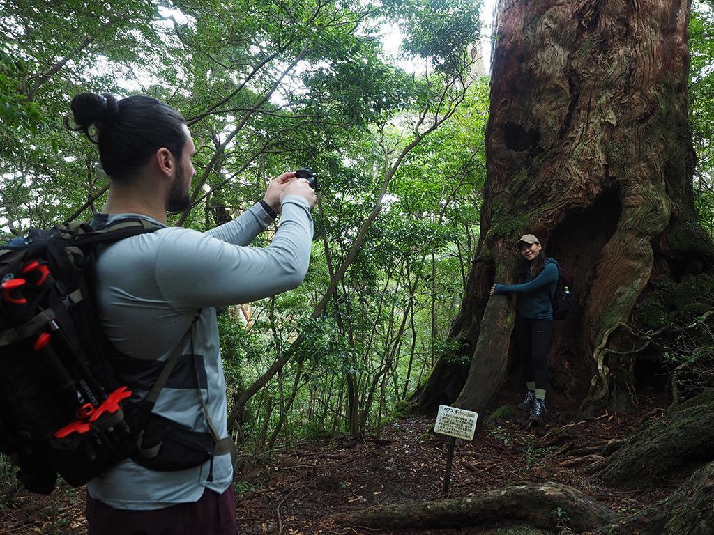 この屋久杉の模様が気に入った奥様の写真をとるご主人の写真