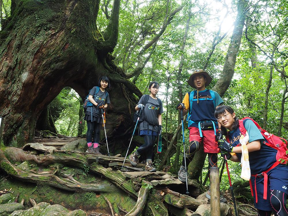 くぐり杉と呼ばれる人が股を広げたように立っている杉の下をくぐり抜けたご家族4人の写真