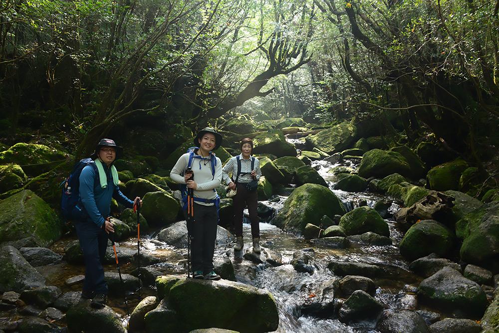白谷川本流に差し込む綺麗な光の筋と参加者3人の写真
