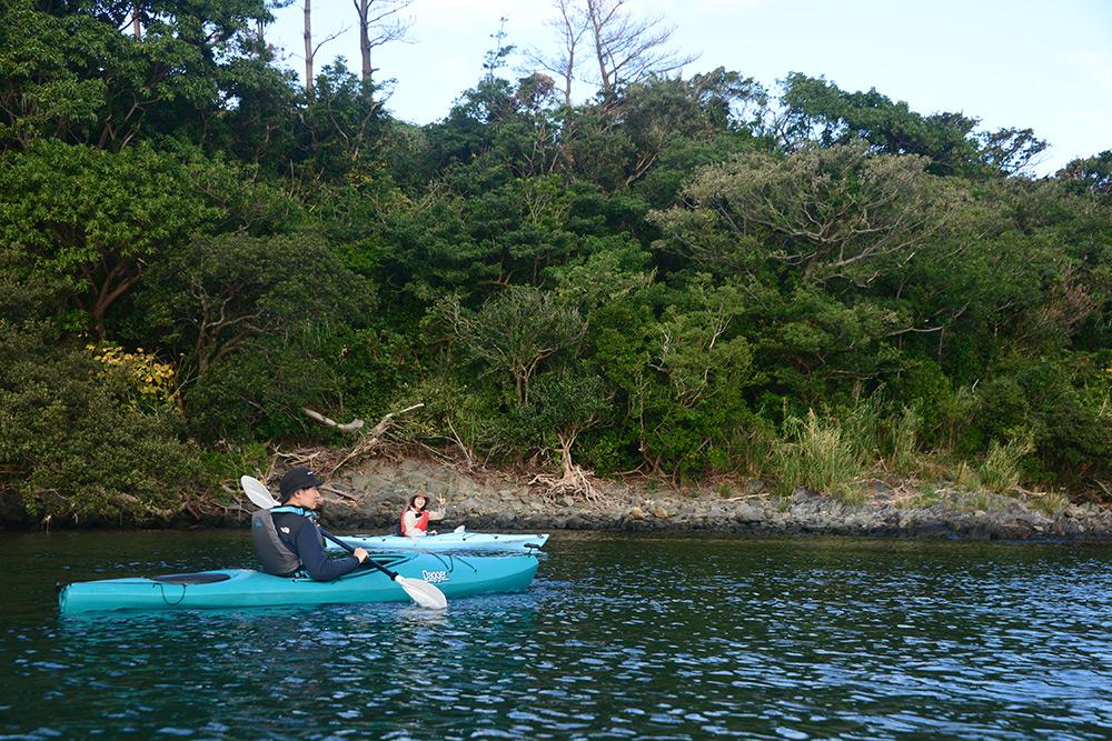 岸沿いをカヤックで併走する二人の写真