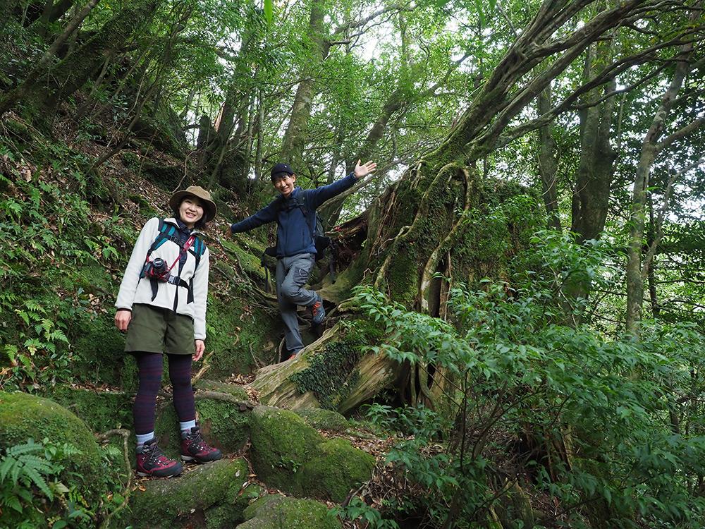 登山道にやっと慣れてきた頃に撮った段差を下りてくる写真