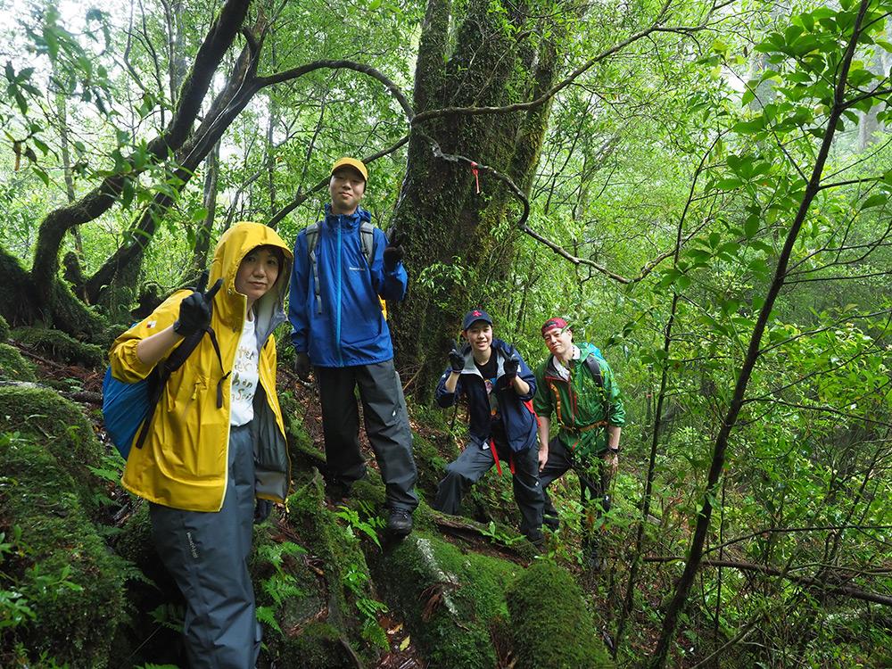 登山道自体がコケに覆い尽くされていて、そこで家族4人揃っての写真